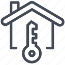 house, key, label icon