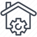 gear, house, settings, smart home icon