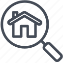 apartment, house, magnifier, search icon