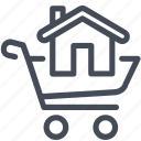 buy, cart, house, shopping icon