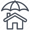 home insurance, house, protection, safe, shield, umbrella icon