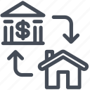 bank, business, finance, house, property, transfer icon