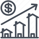 growth, price, property, real estate icon