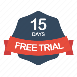 days, free, guarantee, label, trial icon