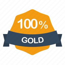 gold, guarantee, label, percent icon