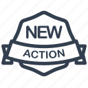 action, new, guarantee, label