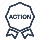 action, ribbon, shopping icon
