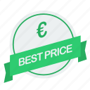 best, euro, guarantee, label, price icon