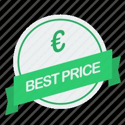 best, euro, guarantee, label, price icon