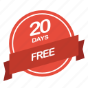 days, free, guarantee, label, period icon