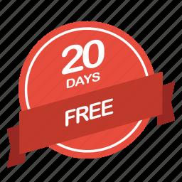 days, free, guarantee, label, period icon