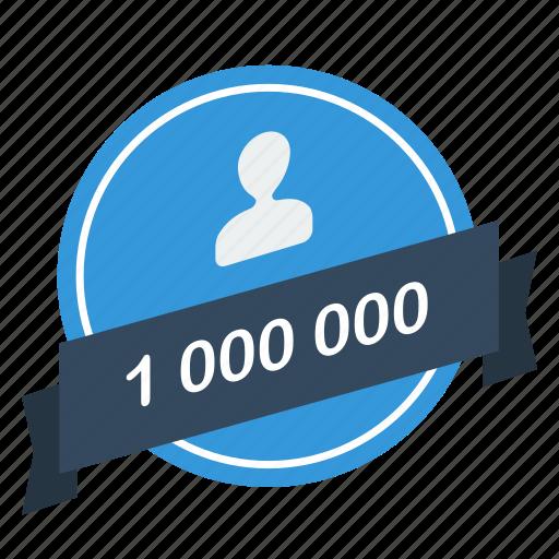 guarantee, label, million, one, user icon