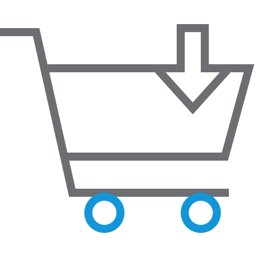basket, cart, down, shopping, trolley icon