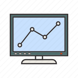 graph line, screen, seo, statistics icon