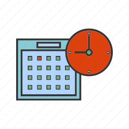 calender, clock, planning, seo, time icon