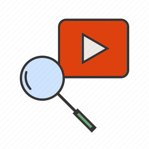 magnifier, search, seo, youtube icon