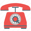call, communication, connection, dial, old, ringing, telephone icon