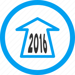 ahead arrow, forward, future, navigation, new year, next, year 2016 icon