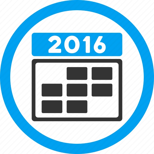 appointment, calendar, date, grid, schedule, time table, year 2016 icon