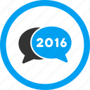 2016, bubble, chat, comment, communication, message, talk icon