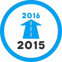 ahead arrow, forward, future, new year, next, road, year 2016 icon