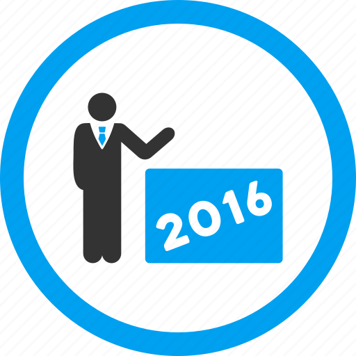 2016 year, business plan, lecture, presentation, report, show, speech icon