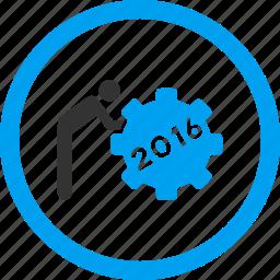 employee, job, service, staff, task, working man, year 2016 icon