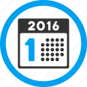 1st date, appointment, calendar, first day, number one, schedule, year 2016 icon