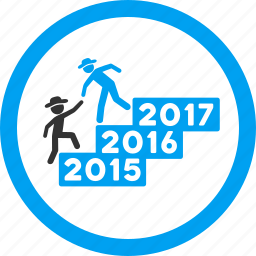 annual, business help, education, gentleman, stairs, training, year 2016 icon