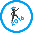 climbing, gentleman, man, new year, person profile, user account, year 2016 icon