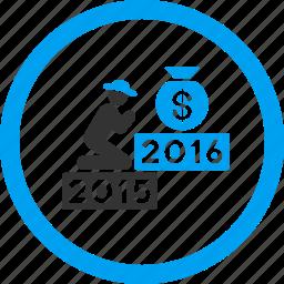 deposit, finance, money bag, pray, prayer, religion, year 2016 icon