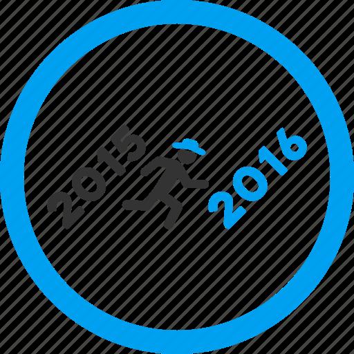 activity, forward, future, new year, run, running man, year 2016 icon