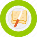 bread, breakfast, butter, food, meal, sandwich, toast icon