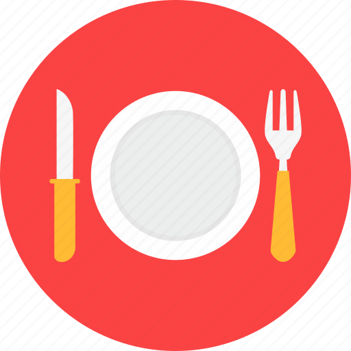 cutlery, dishes, fork, knife, plate icon