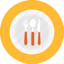cutlery, dinner, fork, knife, plate, restaurant, spoon icon