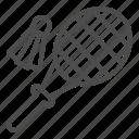 badminton, shuttlecock, racket, sport, game, grid, summer