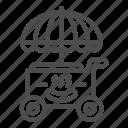 cart, store, fast, street, snack, umbrella, wheel
