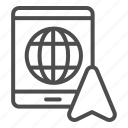 gps, navigation, globe, cartography, pointer, tablet, arrow