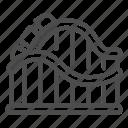 coaster, park, ride, roller, fun, wave, train