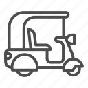 moped, scooter, rickshaw, motor, transport, travel, roof