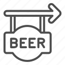 alcohol, signboard, pub, party, drink, beer, arrow