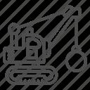 ball, building, construction, demolition, excavator, crane, heavy