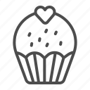 cupcake, cake, sweet, heart, dessert, delicious, pastry
