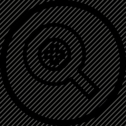 control, in, media, player, remote, round, zoom icon