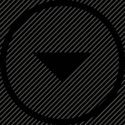 control, down, media, player, remote, round icon