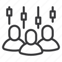 bars, brokers, business, investors, people, quotes icon