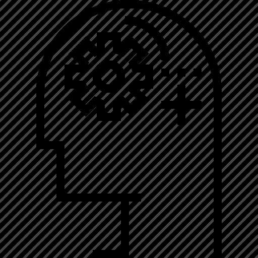 gear, logic, processing, think icon