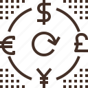 currency, dollar, euro, exchange, money, pound, yen icon
