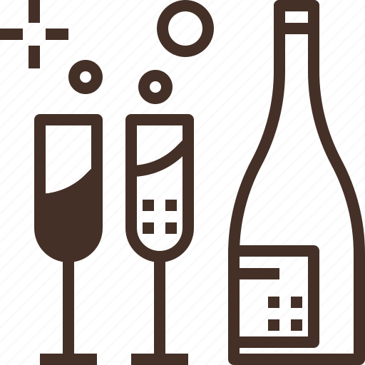 beverage, bottle, champagne, drink, glass, wine icon