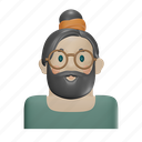 hipster, young, glasses, beard, avatar, man, male